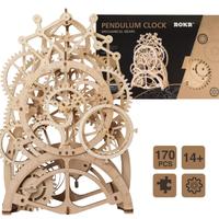 Robud 振り子時計 木製 機械式 自作 キット 置き型 手作り 卓上 電池いらない アンティーク DIY 人気 おしゃれ インテリア 高さ34cm