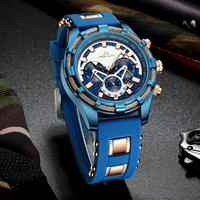 MEGALITH メンズ腕時計 防水 クロノグラフ クォーツ 日付表示 ゴムバンド 男性 海外トップブランド 選べる3色