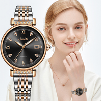 【2019】LIGE SUNKTA レディース腕時計 薄い クォーツ 防水 日付表示 高級 ステンレスベルト 軽量 海外トップブランド 選べる3色