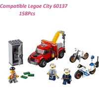レゴ互換 金庫ドロボウのレッカー車 60137 バイク シティ 乗り物 ミニフィグ付き ブロックセット LEGO風 知育玩具