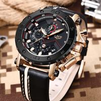 LIGE 腕時計 メンズ 3気圧防水 クロノグラフ レザーバンド 発光 日付表示 多機能 ステンレス ミリタリー スポーツウォッチ 海外トップブランド 高級 選べる2色