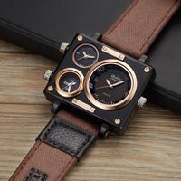 Oulm メンズ腕時計 四角 3つの文字盤 長方形 ごつい トリプルタイム キャンバスベルト ユニーク クォーツ ヴィンテージ 個性的 選べる3色