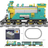 レゴ互換 列車 レールセット 電車 電池式 動く トレイン 乗り物 シティ LEGO風 ブロックセット 知育玩具 77cm