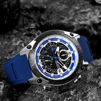 【MEGIR】 シリコンバンド メンズ腕時計 3気圧防水 クロノグラフ クォーツ ルミナスハンズ 海外トップブランド 水に強い 普段使いに 選べる3色