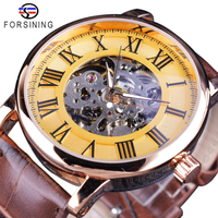 【FORSINING】 自動巻き メンズ 腕時計 スケルトン 機械式 レトロ レザーバンド ローマ数字 海外トップブランド 高級 ゴールド
