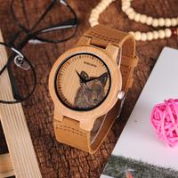 バンブーウォッチ ボボバード 竹製腕時計レディース メンズ 木 動物 革ベルト P20 かわいい3種類の文字盤★