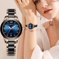 【SUNKTA】 LIGE レディース腕時計 2020 クォーツ 防水 高級 薄い 日付表示 セラミック シンプル ステンレスバンド 海外トップブランド クール 3色から選択可能