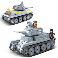 レゴ互換 戦車 BT-7 ソ連軍 ミニフィグ+武器 ベテー・スィェーミ 第二次世界大戦 WW2 ソビエト 装甲車 ライトタンク 戦争 兵士 兵隊 軍隊 LEGO風