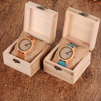 プレゼントに最適★ バンブーウォッチ 木製ギフトボックス ブレスレット付き ユニセックス BOBO BIRD 竹製の腕時計 超軽量 レザーバンド クォーツ メンズ レディース 青 茶 選べる2色