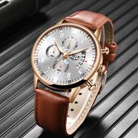 【LIGE】 メンズ 腕時計 2020 レザーベルト クロノグラフ 3気圧防水 日付表示 クォーツ 発光 ルミナスハンズ 海外トップブランド 選べる4色
