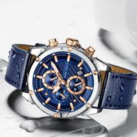 【MINIFOCUS】 クロノグラフ 腕時計 メンズ 本革ベルト 防水 クォーツ ルミナスハンズ 発光 日付表示 スポーツ 高級 海外ブランド 4色あり
