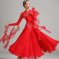 社交ダンス モダンドレス ロングスカート ルンバ ワルツ 衣装 ウェア レディース 長袖 踊り バレエ エレガント 練習 競技 赤 青 白 選べる3色