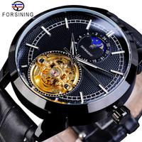 FORSINING トゥールビヨン ムーンフェイズ メンズ腕時計 機械式 自動巻き 防水 本革ベルト 月の満ち欠け 高級 海外トップブランド ブラック+ゴールド