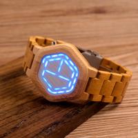 BOBO BIRD バンブーリストウォッチ 竹製腕時計 ユニーク メンズ LED ナイトビジョンカレンダー 日付表示 デジタル クォーツ