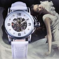 【2017】 T-WINNER レディース スケルトン 腕時計 自動巻き 機械式 海外トップブランド レザーバンド エレガント 【選べる3色】