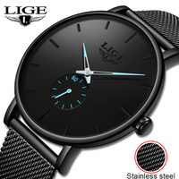 LIGE メンズ腕時計 薄い スポーツ クォーツ 防水 ステンレスメッシュベルト 海外トップブランド 高級 選べる3色