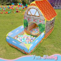 【ポップアップで簡単】 キッズテント レンガの家 テントハウス 折りたたみ ボールプール ボールハウス 【アウトドアにも】