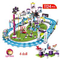 レゴ (LEGO) フレンズ 遊園地 ジェットコースター 41130 互換品 ミニフィグ 4体付き ローラーコースター スロープ 知育玩具 知育 1124ピース