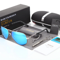 BARCUR サングラス ミラーレンズ メンズ パイロット 人気 UV400 紫外線99%カット アルミニウム マグネシウム 高性能 おしゃれ かっこいい 運転におすすめ 7色展開★