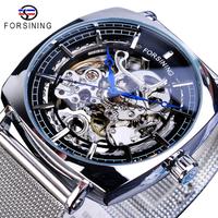 【FORSINING】 自動巻き スクエア スケルトン メンズ腕時計 機械式 ステンレスメッシュベルト 四角 海外トップブランド 選べる4色