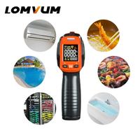LOMVUM 赤外線温度計 非接触 範囲 -50℃~380℃ 電池式 ガンタイプ レーザー おすすめ 金属 食品 料理 家庭用 業務用 デジタル温度計 温度測定器 DIY 人気