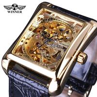 T-WINNER 腕時計 長方形 メンズ スケルトン 機械式 レトロ 四角 革ベルト スチームパンク 高級 発光 海外トップブランド ユニーク 個性的 選べる3色