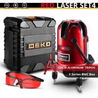 DEKO レーザー墨出し器 三脚付き セット 抜群のコスパ 赤 5ライン 6ポイント 360度 水平 垂直 レッド スタンダードセット 人気 おすすめ 高性能★