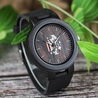 BOBO BIRD 木製腕時計 本革ベルト メンズ カジュアル クォーツ 黒 木製ギフトボックス付き 父の日にも
