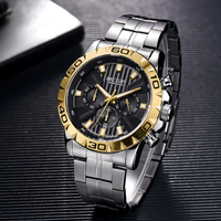【2019】 MEGIR メンズ腕時計 ビジネス ステンレスバンド 防水 クロノグラフ 日付表示 クォーツ ルミナスハンズ 海外トップブランド 選べる3色