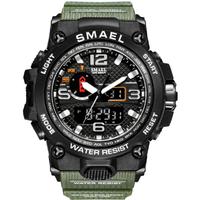 【大人気モデル1545】 SMAEL ミリタリー腕時計 50m防水 メンズ Sショック 高級 防水 クォーツ 海外トップブランド アーミーグリーン カモフラージュ 【選べる3色】