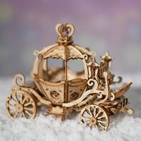 【最高に可愛い】 ROBOTIME 馬車 立体パズル 木製 かぼちゃの馬車 おもちゃ グッズ 3D 組み立てキット DIY 自作 組み立て簡単 【入手困難】