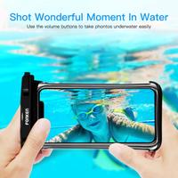 FONKEN スマホケース 防水 丈夫 android iphone 水没しても安心 水中撮影可能 水泳 ダイビング スキー 幅広いサイズ 最大6.5インチまで対応 2個 白 黒