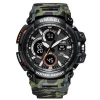 【2018】 SMAEL 50m防水 メンズ ミリタリー腕時計 LED デジタル表示付き クォーツ スポーツウォッチ 高級 1708B 海外トップブランド 【選べる3色】