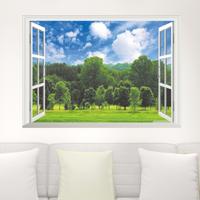 ウォールステッカー 森 木 空 雲 子供部屋インテリア 青色 緑 白 3D 窓 壁紙 シール キッズルーム リビング 寝室 家具 防水 はがせる DIY リラックス 集中力UP