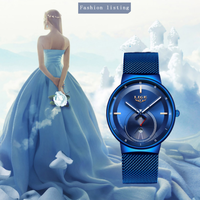 【2020】LIGE レディース腕時計 薄い クォーツ 防水 日付表示 メッシュベルト 発光 ルミナスハンズ ステンレス 高級 海外トップブランド 選べる3色