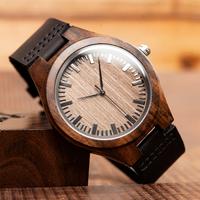 ボボバード 木製腕時計 メンズ 本革ベルト BOBO BIRD エボニー クォーツ ブラックウッドウォッチ F08 木のぬくもり★