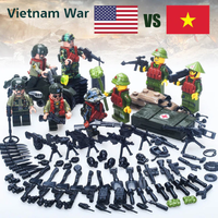 レゴ互換 ベトナム戦争 アメリカ VS ベトナム 兵士 銃 ナイフ 手榴弾 ヘルメット ミニフィグ+武器多数