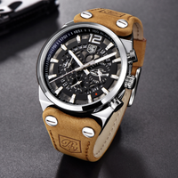 【BENYAR】 スタイリッシュ クロノグラフ メンズ 腕時計 防水 本革ベルト クォーツ 日付表示 海外トップブランド ワイルド 存在感抜群 【選べる3色】