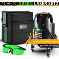 DEKO レーザー墨出し器 セット 三脚付き 緑 コスパ抜群 5ライン 6ポイント 360度 水平 垂直 グリーン 人気 おすすめ 高性能 オックスフォード製の便利な箱付き★