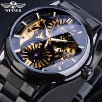【ブラック】 T-WINNER スケルトン 自動巻き 機械式 高級メンズ腕時計 防水 ルミナスハンズ 海外ブランド ラグジュアリーウォッチ