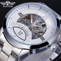 【T-WINNER】 メンズ腕時計 スケルトン 自動巻き 機械式 ローマ数字 ステンレスバンド 発光 ルミナスハンズ 海外トップブランド 4色から選択可能