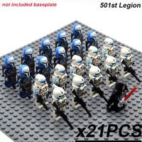 レゴ互換 スターウォーズ ミニフィグ 501大隊 21体 ライトセーバー 銃 武器 トルーパー クローン 第501軍隊 おもちゃ 人形 グッズ LEGO風 ブロックセット