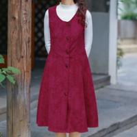 森ガール ドレス 赤 カジュアル コーデュロイ 秋 冬 レディース ファッション かわいい ワインレッド