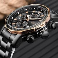 LIGE メンズ腕時計 防水 クロノグラフ 日付表示 クォーツ 頑丈 ステンレスベルト 海外トップブランド 選べる2色