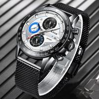 【LIGE】 腕時計 メンズ 2020 クロノグラフ クォーツ 3気圧防水 日付表示 発光 ルミナスハンズ カジュアル 人気 高級 海外トップブランド 選べる4色