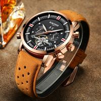 【海外高級ブランド】 KINYUED 自動巻き 機械式 ラグジュアリー 腕時計 メンズ トゥールビヨン 防水 本革バンド 日付 曜日表示 おしゃれ 【選べる3色】