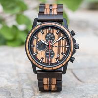 【DODO DEER】腕時計 メンズ 木製 クロノグラフ 日付表示 防水 クォーツ E02【3色】
