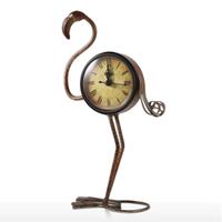 【Tooarts】 置時計 フラミンゴ 金属製 卓上時計 置物 鳥 ヴィンテージ 【インテリア】