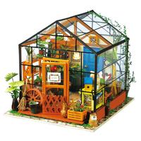 【ミニチュアハウス】 ROBOTIME キャシーの温室 フラワー DG104 ドールハウス DIY ガーデン 木製組み立てキット 3D立体パズル 自作 【入手困難】