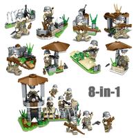 レゴ互換 ミリタリー 兵士 ヘルメット 銃 ミニフィグ 兵隊 8in1
